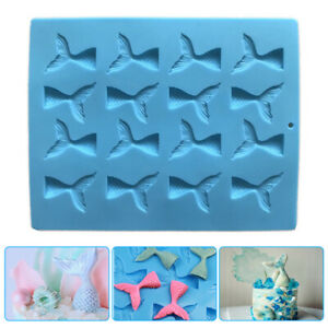 DIY 16 Cavity Rubber Mermaid Tail Mold for Candy Jelly Making,Cupcake Decoration