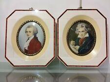 2 antike Bilder in Miniatur- Lupenmalerei mit Rahmen- Stiela & N. Lenner