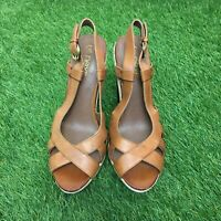 Next Size 5 Euro 38 Brown Leather Strappy Slingback High Heel Sandals
