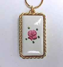 #B6 Vintage Sarah Coventry Necklace Cloisone Rose Hand Painted Gold Tone Oval