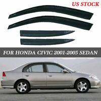 4pcs Sun/Rain Guard Vent Shade Window Visor  Fit for Honda Civic 2001-2005 Sedan