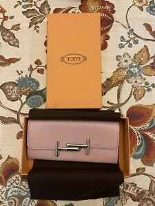 Brand New Tod's two-fold wallet card holder Light Pink Italian Leather