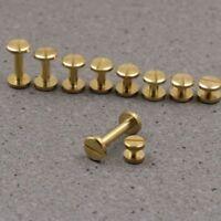 5-50pc Solid Brass Leather Belt Wallet Chicago Screw Nail Stud Bind Rivet 4-20mm
