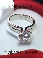 3CT Off White Round Cut Moissanite Solitaire Engagement Ring 925 Sterling Silver