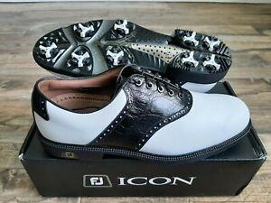 NEW Footjoy FJ ICON Mens Golf Shoes 52039 Wh/Blk Lizard  10.5 Medium