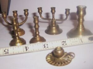 vintage Lot  Dollhouse Miniature Brass Candle Stick Holders doll house xhild