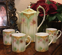 Antique R S MADE IN Prussia POPPY MOCHA SET/Chocolate POT WITH 4 CUPS