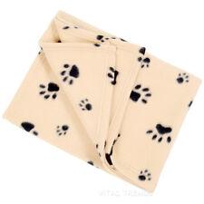 Large Warm Soft Fleece Dog Cat Puppy Cot Bed Pet Blanket Paw Print Black