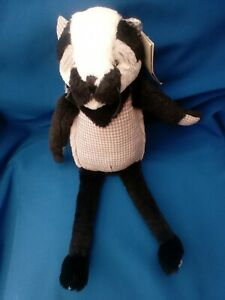 DORA DESIGNS PERCY JUNIOR BADGER SOFT TOY BEANIE  PLUSH COUNTRY FOLK WITH TAGS