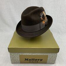 ed1035c90673c Vintage Torino Quality Mallory Dark Brown Men s Fedora Size 7 W  Hat Box