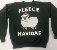 Fleece Navidad Hanes Green Funny Adults Christmas Feliz Xmas Sweatshirt Medium M