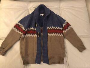 Gucci Boys Beige Blue Wool Sweater Jacket Cardigan Size 4