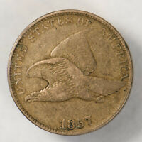 1857 1c FLYING EAGLE SMALL CENT, NICE DETAIL LOT#N619