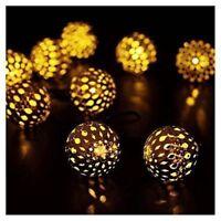 20x Moroccan Filigree Metal Globe Solar String Lanterns LED Fairy Garden Lights