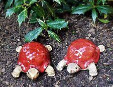 Set of 3 Ceramic Red Tortoise Garden outdoor/Indoors SALE Ornaments