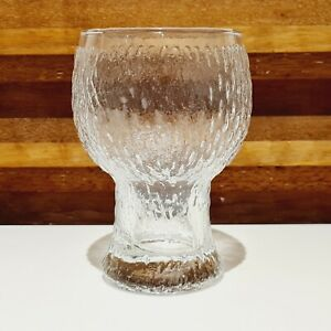 Vintage CROWN CORNING retro FESTIVE BARK textured 300ML wine glass (6 available)