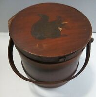 Antique Wood Vintage Primitive Wooden Firkin Sugar Bucket Squirrel Lid