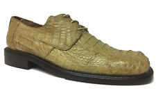 Mens Sand Beige Crocodile Skin Dress Shoes Western Cowboy Real Leather Oxford