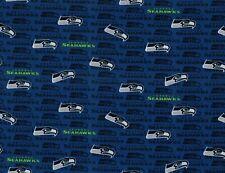 Seattle SeaHawks NFL Football Blue Mini Print Cotton Fabric ~ By the Cut ~