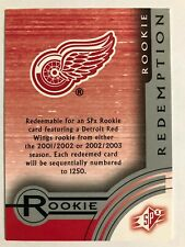 2001-02 SPx Rookie Redemption Card Detroit Red Wings #SR11
