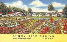 Utica New York Sunny Side Cabins Flower Garden Antique Postcard K19508