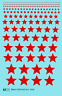 K4 HO Decals Five Point Stars 1/16 To 1 Inch Red