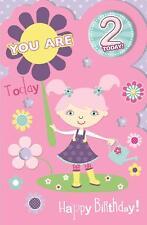 Precioso Colorido para una niña especial que son 2 2ND Tarjeta de felicitación de cumpleaños & Insignia
