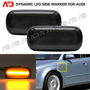 For Audi A4 S4 RS4 TT A3 A6 Smoked LED Side Marker Light Fender Marker Lamp 2PCS