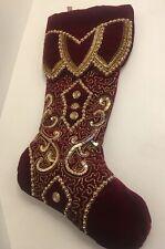 "Katherine's Collection 19"" Burgundy Gold Jeweled Stocking NEW"