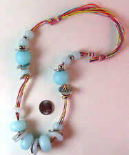 NWOT Oversize Baby Blue, White and Silver Acrylic Necklace, Adjustable size