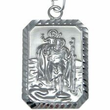 "STERLING SILVER ST SAINT CHRISTOPHER PENDANT CHAIN NECKLACE WITH 18"" CHAIN & BOX"
