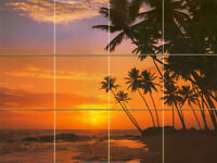 Art Mural Ceramic Palm Beach Sunset Bath Backsplash Tile #151