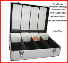 1000 CD DVD Silver Aluminum Media Storage Case Mess-Free Holder Box with Sl
