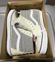 NEW Men's Vans Sk8-Hi White Grey Marshmallow Sz 8 Suede Skate Shoes Rare