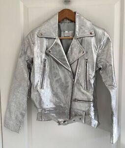 Steele Silver Leather Biker Moto Jacket, Size XS New