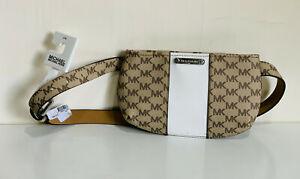 MICHAEL KORS MK NATURAL BROWN WHITE HIP PACK / FANNY PACK BELT BAG SMALL/MEDIUM
