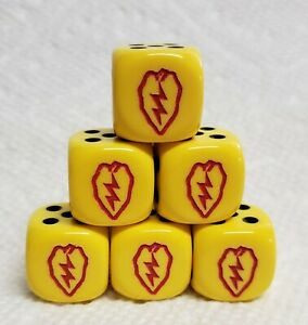 Dice - Chx Custom 16mm OP Yellow w/Black Pips & Red 25th Infantry Logo as #1
