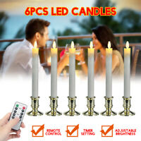 6Pcs Electric LED Candles Flameless Battery Candle Light Remote Control Decor