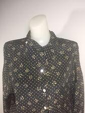 JAEGER Silk Blend Great Britian Vintage Top Button Down Shirt Sz M Polka Dot