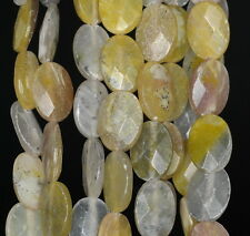 """14X10MM CREAMY OPAL GEMSTONE YELLOW FACETED OVAL LOOSE BEADS 15.5"""""""