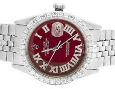 Mens Rolex Datejust 36MM Stainless Steel Jubilee Red Dial Diamond Watch 3.5 Ct