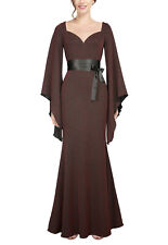 Red Burgundy Fishtail Glitter Sparkle Gothic Mermaid Evening Batwing Maxi Dress