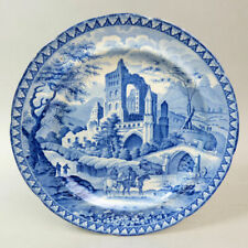 ANTIQUE STAFFORDSHIRE BLUE & WHITE POTTERY 'GOTHIC RUINS' PLATE C.1820