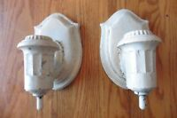 Sconce Pair Hall light wall Lamps cast lead pewter Vintage porcelain white paint