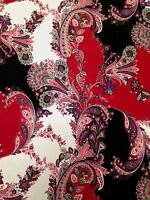 Floral Jacobean Pattern on Stretch Knit Jersey Polyester Spandex Fabric