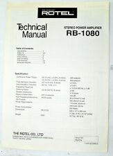 ROTEL RB-1080 Stereo Power Amplifier Technical Manual - ORIGINAL