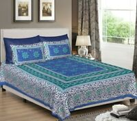 Traditional Printed Cotton Bed Spread King Size Fitted Sheet Bedding Coverlet