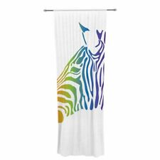 NL designs Rainbow Zebra Animal Print Sheer Rod Pocket Curtain Panels Set of 2