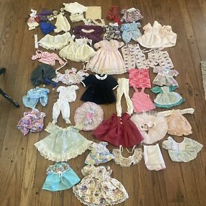Old Vtg KIDS DOLL CLOTHES LARGE LOT OUTFITS DRESS SKIRTS PANTS Mid Sized
