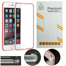 Metal Edge iPhone 6S 6 Rose Gold Genuine Gorilla Tempered Glass Screen Protector